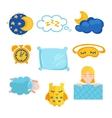Sleep time flet icons set isolated vector image vector image
