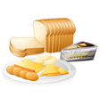 Sliced bread with cheese and biscuits vector image vector image