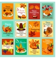 Thanksgiving Day greeting cards posters set vector image vector image