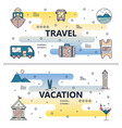 thin line travel poster banner template set vector image