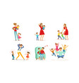 tired young parents exhausted with nursing little vector image vector image