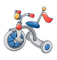 tricycle with red flag icon cartoon style vector image