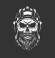 vintage military skull in tankman helmet vector image vector image