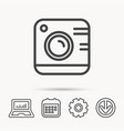 Vintage photo camera icon photography sign