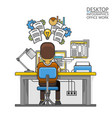 man sitting at desktop and working on the computer vector image