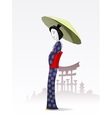 Japanese woman in traditional kimono vector image