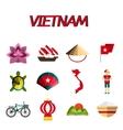 Vietnam flat icon set vector image