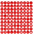 100 flowers icons set red vector image vector image