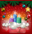 Abstract Christmas red greeting with candles and vector image