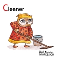Alphabet professions Owl Letter C - Cleaner vector image