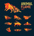 animal flame mascot set logo vector image