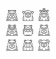 animals set on white background vector image vector image