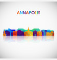 annapolis skyline silhouette in colorful vector image vector image