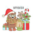 bear lamp new year animal cartoon card illu vector image