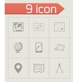 black map icons set vector image vector image