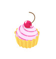 cake with a cherry tasty pink cream sweet vector image