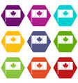 canada flag with flagpole icon set color vector image vector image