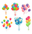 cartoon birthday balloons colorful air balloon vector image vector image