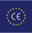 ce mark ce symbol on flag europe vector image