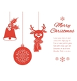Christmas pendants a bell with holly ball and vector image vector image