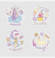 colored set of teenage girl icons cute cartoon vector image vector image