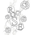coloring roses with the inscription rose letters vector image vector image