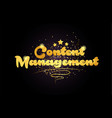 content management star golden color word text vector image vector image