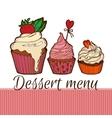Cupcakes dessernt menu vector image
