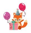 cute fox gift balloon kawaii birthday vector image vector image