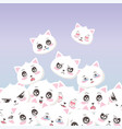 cute white cats faces emoticons cartoon animals vector image
