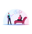 depressed woman sitting on couch at psychologist vector image vector image