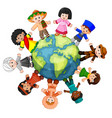 different culture standing together holding hands vector image vector image