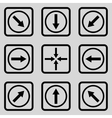 Direction Arrows Flat Squared Icon vector image