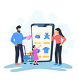 family shopping online vector image vector image