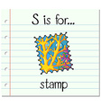 Flashcard letter S is for stamp vector image vector image