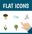 flat icon bio set of overcast tree floral and vector image