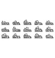 grader machine icons set outline style vector image vector image