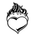 graphic flaming heart vector image vector image