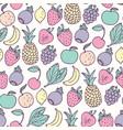 hand drawn cartoon fruits seamless pattern vector image vector image