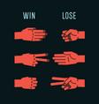 hand game rock scissors paper rules gestures vector image vector image