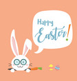 happy easter bunny with carrot white bunny vector image vector image