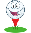 Happy Golf Ball Cartoon Character Over Tee vector image vector image