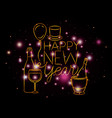 happy new year lettering with lights and icons vector image vector image