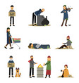 homeless people and vagabonds begging money vector image