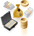 Isometric icons of money vector image vector image