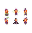 lovely little witch cartoon character collection vector image vector image