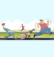 man running away from dogs vector image vector image