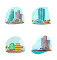 miami cityscape 4 icons composition vector image vector image