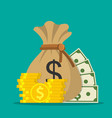 money saving and money bag icon vector image
