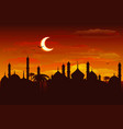 Moon in night sky over mosque Ramadan Kareem vector image